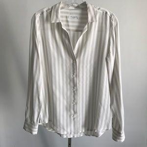 Equipment white gray stripe silk shirt blouse szXS